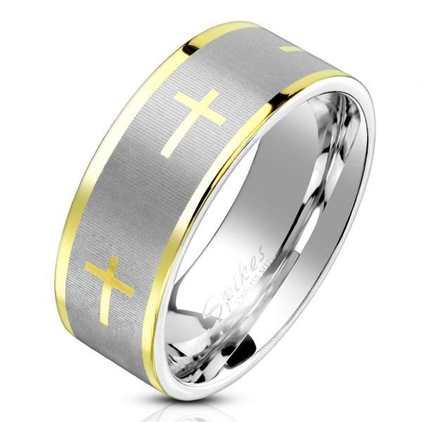 Ring silber Kreuze gold Edelstahl
