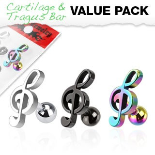 3er Pack Cartilage Tragus Piercing Notenschlüssel