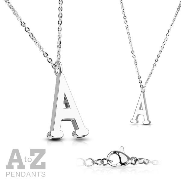 Alphabet Buchstabe Anhänger Kette Silber 316L Stahl