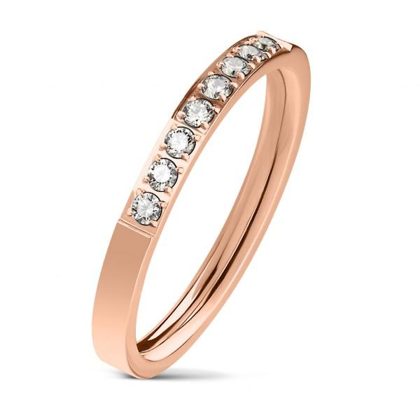 Ring rosegold 8 Kristalle Edelstahl