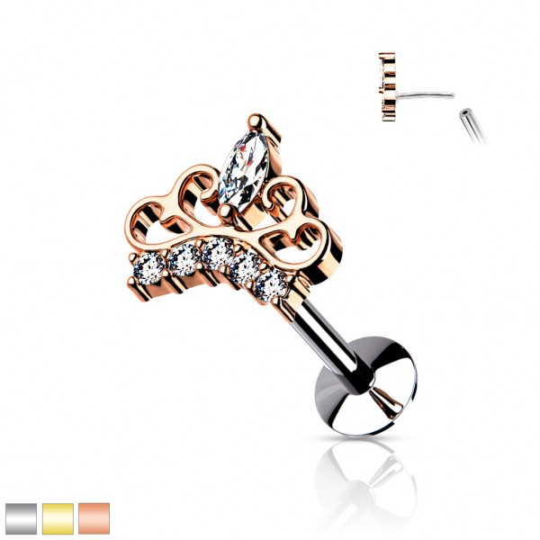 Krone Kristall Rosegold Push-In Labret Medusa Eskimo Piercing Ohr Forward Helix