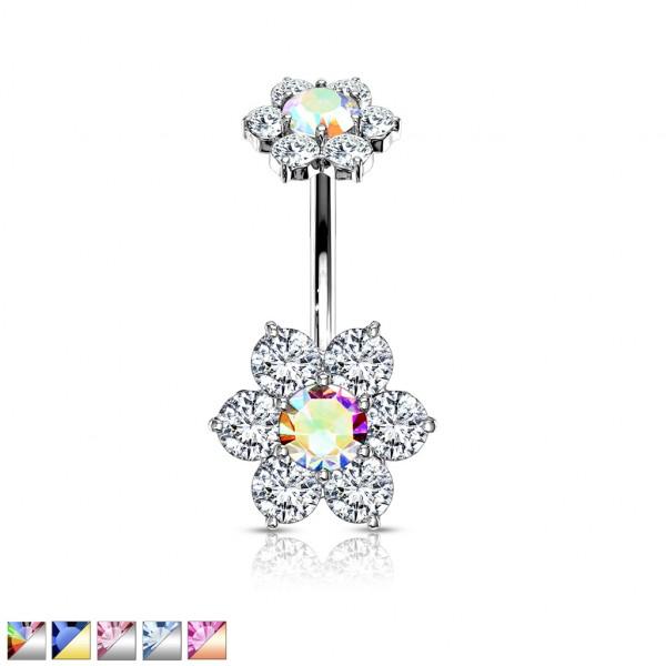 7 Kristall Blumen mit Innengewinde Kristall Blume Bauchnabelpiercing