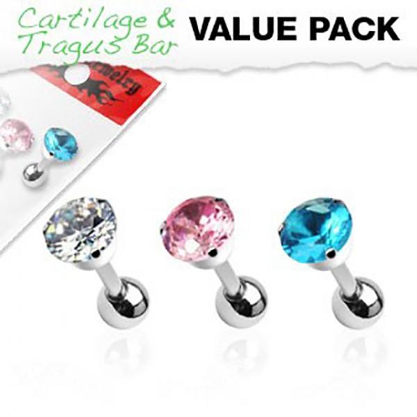 Zirkonia Cartilage Tragus Piercing 3er Pack