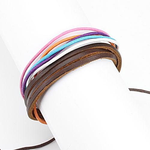 Lederarmband Braun Lila Pink Blau verstellbarer Verschluss