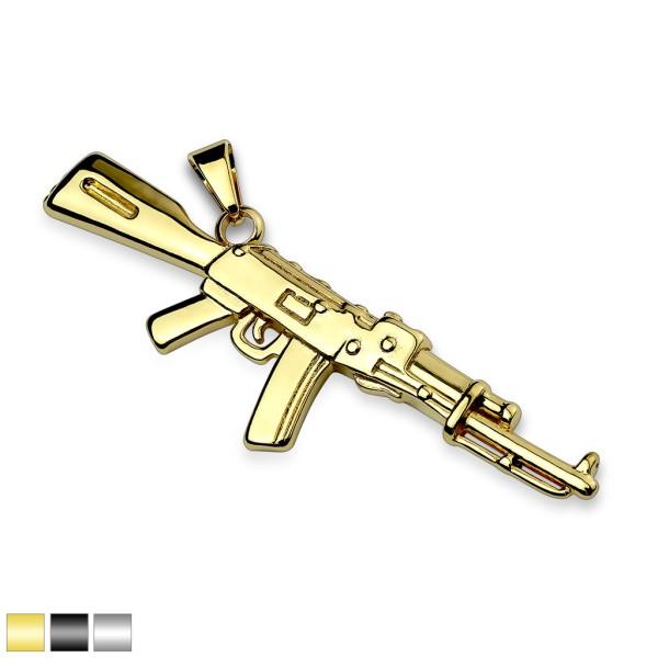 Halb-automatisches Gewehr Gold Anhänger Stahl
