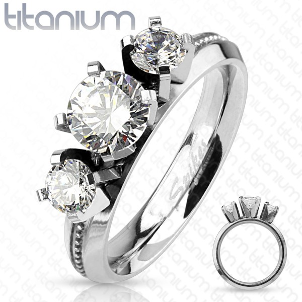 Ring 3 Kristalle Glocken Gravur Verlobungsring Titan