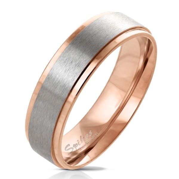 Ring silber rau rosegold abgestufte Kanten Edelstahl