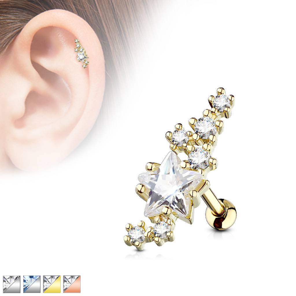 Satz Von 3-Größe 316L Chirurgenstahl Sterne Klare Zirkon Knorpel Piercing