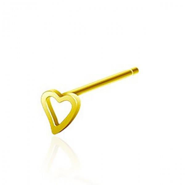 Herz Gold Nasenpiercing 316L Chirurgenstahl