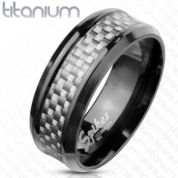 Ring Kohlefaser weiß schwarz Titan