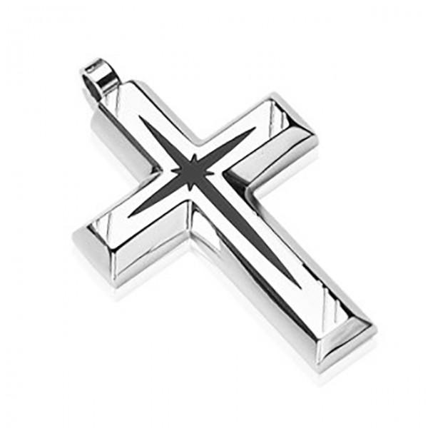 Schwarz - Stern zentriert Kreuz Ring 316L Chirurgenstahl Pendant