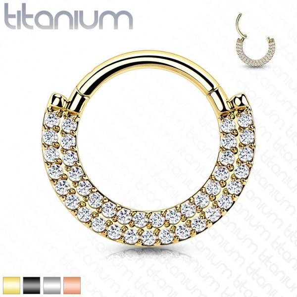 Titan Segment Clicker Ring mit Zirkonias