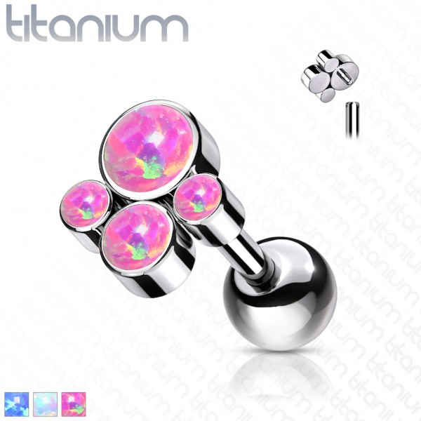 Titan Internally Threaded Ohrpiercing Barbells Opal Bezel Flat Tragus Helix