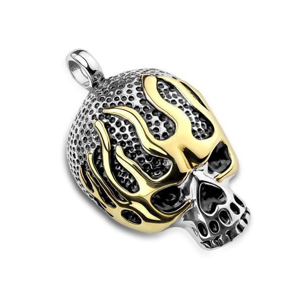 Totenkopf in Flammen Silber Gold Anhänger Stahl