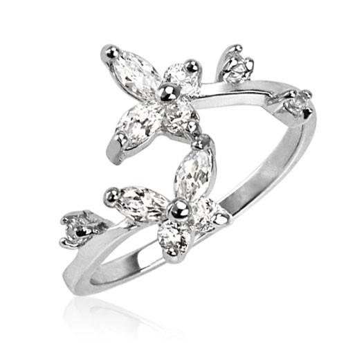 Klar Zirkonia Schmetterling .925 Sterling Silber Zehe Ring