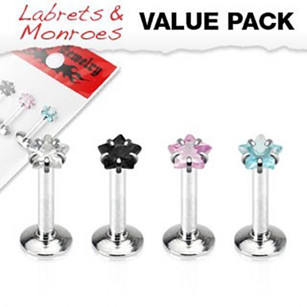 4er Pack Labret Monroe Piercings Kristall Stern