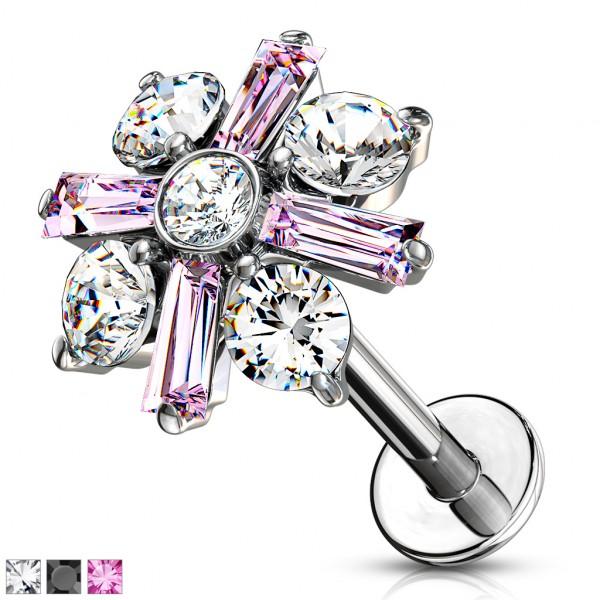 Kristall mit runden und länglichen Kristallblüten Innengewinde Labret Monroe Cartilage Ohrpiercing