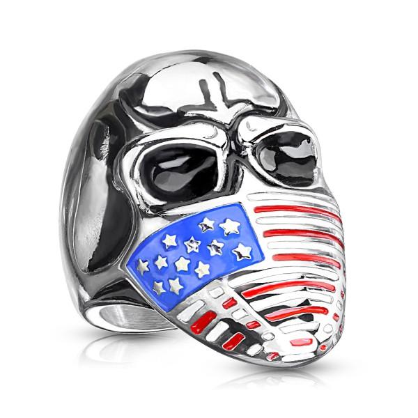 Totenkopf mit US Flaggen Maske, rostfreier Stahlring