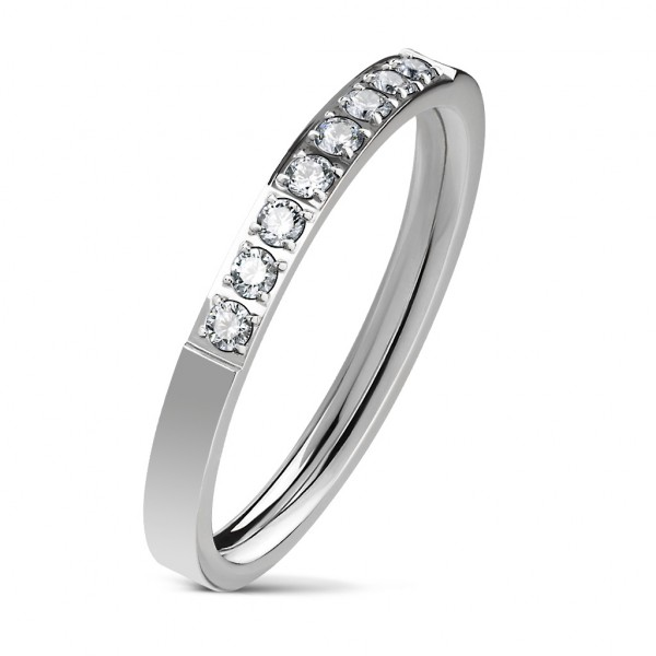 Ring Silber 8 Kristalle Edelstahl