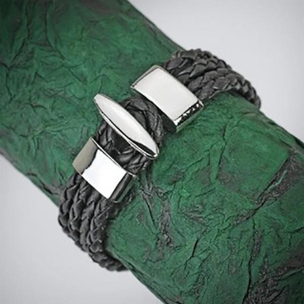 4 Schnüriges Armband Leder Schwarz