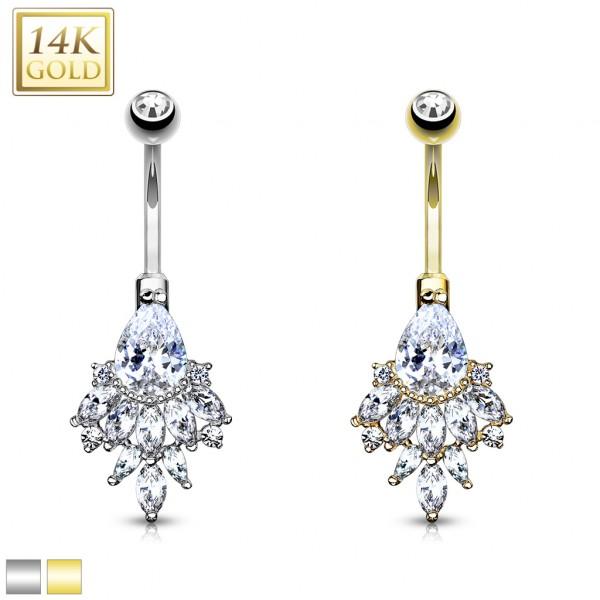 Bauchnabelpiercing Echtgold Kristall 14 Karat Piercing mit birnenförmigen Kristallen