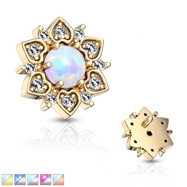 Kristall Blume mit Opal Stein in der Mitte Innengewinde Dermal Anchor Tops