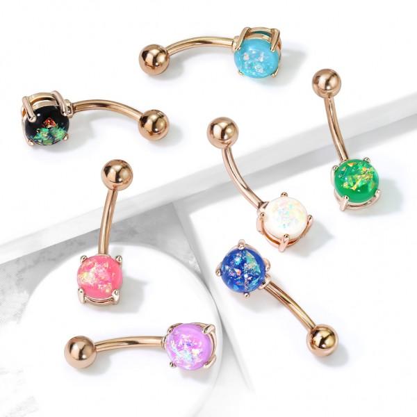 Opal in Krappenfassung Bauchnabelpiercing Roségold