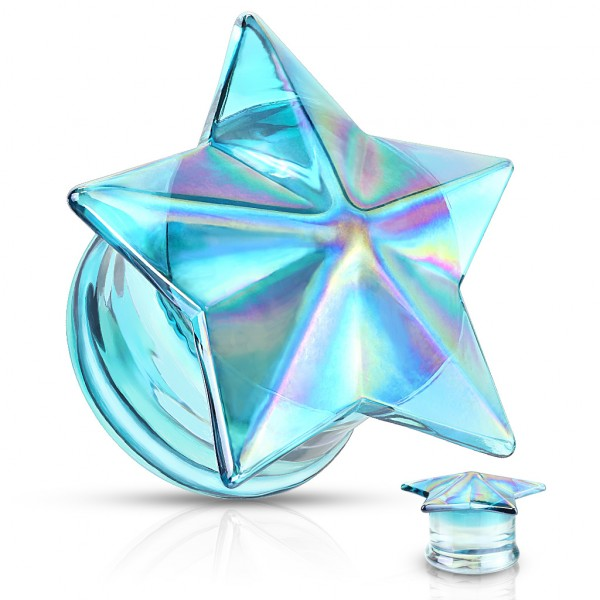 Blauer bunter Stern Double Flared Glas Plug