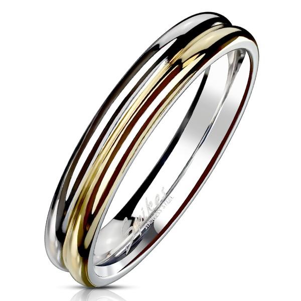 Doppel Ring Silber Gold Edelstahl