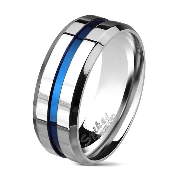 Silber Ring mit blauem Zenter und kurviger Kante rostfreies Stahl