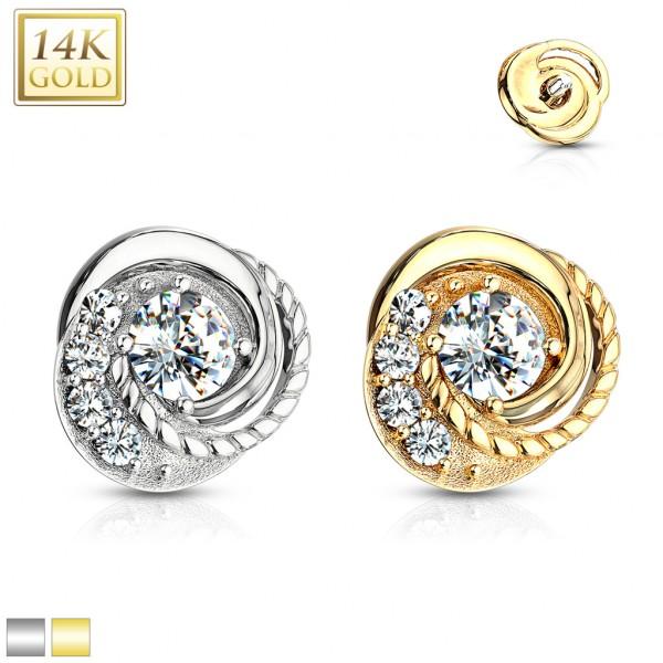 14 Karat Echtgold Wirbel Dermal Anchor verziert mit Kristallen