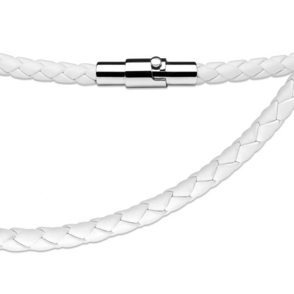 Weiss Leder - geflochten Halskette mit Lockable Magnetverschluss
