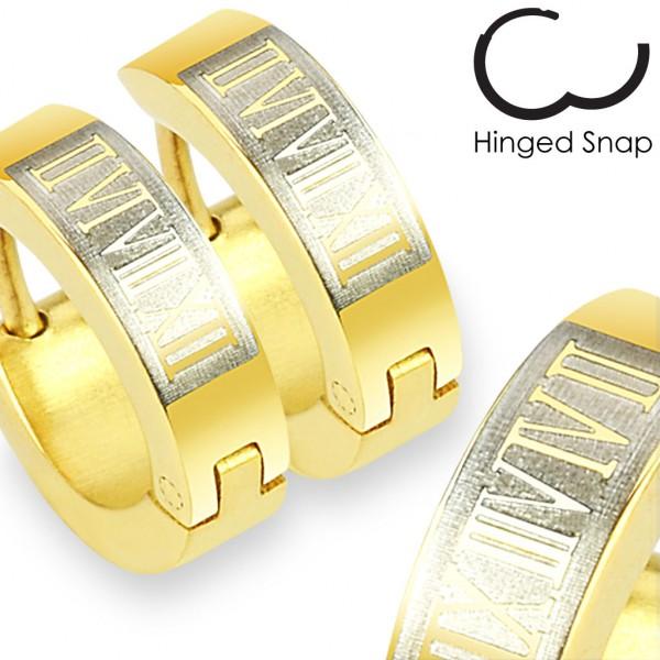 ein Paar Ring 316L Chirurgenstahl Gold plattiert Ohrring mit Römische Ziffern