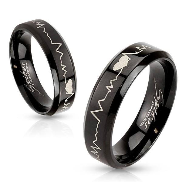 Ring schwarz Herztöne Lasergraviert Edelstahl