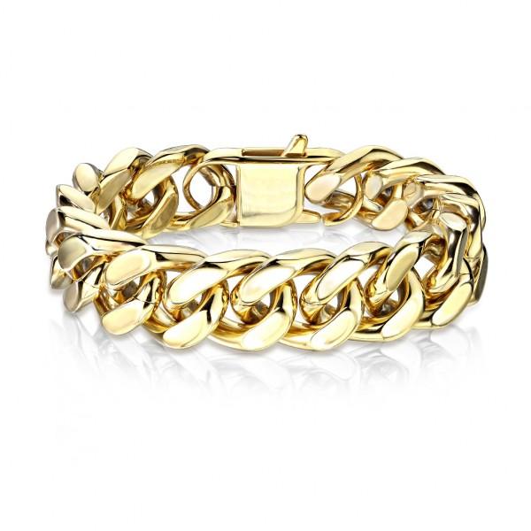 Gold, rostfreies Stahl, Quadratische Panzerkette, Armband
