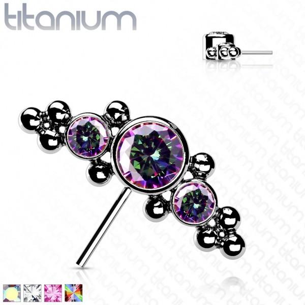 Titan Aufsatz Top drei Kristalle und Kugeln Push-In System nach vorne ausgerichtet